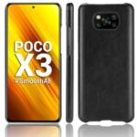 Litchi Texture PU Leather Coated PC Mobile Casing for Xiaomi Poco X3 NFC / Poco X3 – Black