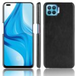Litchi Texture PU Leather Coated PC Mobile Casing for Oppo F17 Pro/A93/Reno4 Lite/Reno4 F – Black