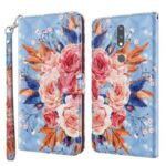 Light Spot Decor Pattern Printing Shell for Nokia 2.4 Leather Stand Cover with Lanyard – Vivid Flower