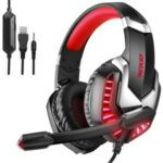 ERXUAN J30 On-ear Corded Headsets Headphone with Microphone for PC, Laptops, PS4, Phone, Etc. – Red