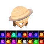 22cm Saturn Lamp with Wood Stand 16 Colors LED 3D Print Decor USB Rechargeable Remote & Touch Control Nursery Night Light