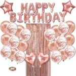 Happy Birthday Balloons Banner Rose Gold Foil Birthday Decorations with Tassels and Ribbons