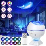 Starry Projector Ocean Wave Night Lamp Remote Control Galaxy Light Projector for Home Party Christmas Gift – As Shown