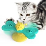 Windmill Cat Toy Interactive Cat Toy Turntable Cat Molar Toy Scratching Tickle Toy with Catnip – Blue