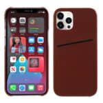 MUTURAL Card Slot Design PC + TPU Hybrid Cover for iPhone 12 Pro Max – Brown