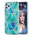 2.0mm Electroplating IMD Marble Pattern Splicing Full Protection TPU Protector Cover for iPhone 11 Pro Max – Blue/Green