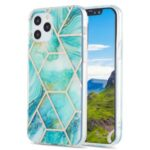 IMD Splicing Marble Pattern Design 2.0mm Electroplating TPU Protector Cover for iPhone 12/12 Pro – Green