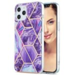 Electroplating IMD Marble Pattern Splicing Case for iPhone 12 Pro Max 2.0mm TPU Protector Cover – Dark Purple