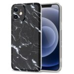 For iPhone 12 Simple Style Glossy Marble Pattern Printing Design TPU Phone Cover Case – Style A