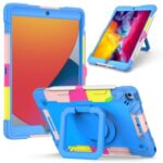 PC and Silicone Tablet Case with Rotating Kickstand for iPad 10.2 (2019)/(2020) – Rainbow/Blue
