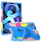 Dual Protection PC and Silicone Tablet Case with Rotating Kickstand Design for iPad Air (2020)/Pro 11-inch (2018)/Pro 11-inch (2020) – Rainbow/Blue