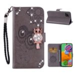 Owl Imprint Rhinestone Decor Leather Phone Case for Samsung Galaxy A12 Stand Shell – Grey