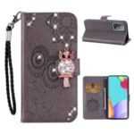 Owl Imprint Rhinestone Decor Wallet Leather Cover for Samsung Galaxy A52 5G Stand Shell – Grey