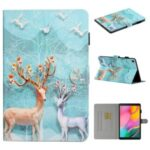 Pattern Printing Card Holder Stand TPU + PU Leather Tablet Case for Samsung Galaxy Tab A7 10.4 (2020) T500 – Elk