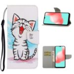 PU Leather Phone Wallet Stand Pattern Printing Protective Case for Samsung Galaxy A12 – Cat