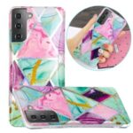 For Samsung Galaxy S21 Case Marble Pattern Printing IMD Design TPU Cover – Triangle and Rhombus