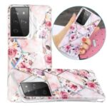 IMD Design Case for Samsung Galaxy S21 Ultra Marble Pattern Printing TPU Cover – Rose