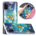 Marble Pattern Printing IMD Protector Case for Samsung Galaxy A41 (Global Version) TPU Cover – Butterfly