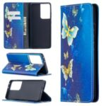 Automatic Suction PU Leather Wallet Stand Phone Case with Pattern Printing for Samsung Galaxy S21 Ultra – Golden Butterflies