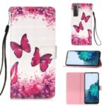 Pattern Printing Design Leather Wallet Phone Stand Case with Lanyard for Samsung Galaxy S21 Plus – Rose Butterfly