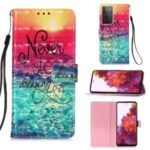 Pattern Printing Leather Wallet Stand Design Phone Case with Lanyard for Samsung Galaxy S21 Ultra – Sea of Clouds/Colorful