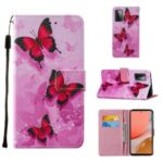 Wallet Stand Design Cross Texture Leather Phone Protective Case with Pattern Printing for Samsung Galaxy A72 5G – Red Butterfly