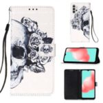 Pattern Printing Design Wallet Stand Leather Phone Case with Lanyard for Samsung Galaxy A32 – Skull and Flowers