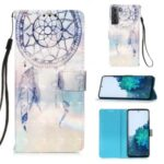 Light Spot Design Pattern Printing Leather Wallet Stand Phone Case with Lanyard for Samsung Galaxy S21 – Dreamcatcher and Rainbow