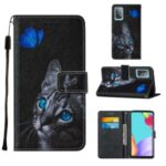 Pattern Printing Design Cross Texture Leather Phone Protective Case with Wallet Stand for Samsung Galaxy A52 5G – Cat