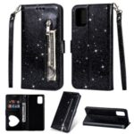 Flash Powder Zipper Pocket Wallet Flip Leather Phone Case with Strap for Samsung Galaxy M51 – Black