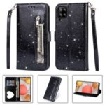 Flash Powder Zipper Pocket Wallet Flip Leather Phone Case with Strap for Samsung Galaxy A12 – Black