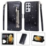 Flash Powder Zipper Pocket Wallet Flip Leather Phone Case with Strap for Samsung Galaxy S21 Ultra – Black