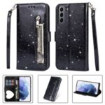 Flash Powder Zipper Pocket Wallet Flip Leather Phone Case with Strap for Samsung Galaxy S21 – Black