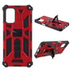 Shock-Absorbed PC+TPU Kickstand Cover with Magnetic Metal Sheet Design for Samsung Galaxy A32 – Red