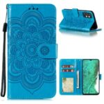 Imprint Mandala Flower Stand Leather Flip Shell for Samsung Galaxy A32 Case – Blue