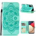 Imprint Mandala Flower Stand Leather Shell for Samsung Galaxy A02s (EU Version) Case – Cyan