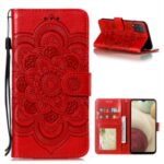 Imprint Mandala Flower Stand for Samsung Galaxy A12 Leather Case – Red