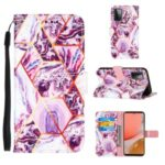 TPU + PU Leather Marble Pattern Splicing Wallet Stand Case for Samsung Galaxy A72 5G – Purple