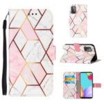 Wallet Stand Design Marble Pattern Splicing TPU + PU Leather Case for Samsung Galaxy A52 5G – Pink