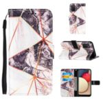 Splicing Marble Pattern Wallet Stand Design TPU + PU Leather Case for Samsung Galaxy A02s (EU Version) – Black / White