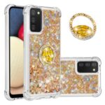 Shockproof Glitter Sequins Quicksand TPU Phone Protective Shell with Rhinestone Ring Kickstand for Samsung Galaxy A02s (EU Version)/(US Version) – Gold