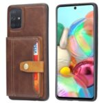 Card Slots Kickstand PU Leather Coated TPU Case for Samsung Galaxy A71 SM-A715 – Brown