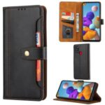 Card Slots Kickstand PU Leather Coated TPU Case for Samsung Galaxy A21s – Black