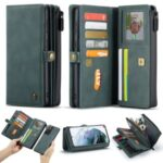 CASEME 018 Series Leather Detachable 2-in-1 Wallet Case for Samsung Galaxy S21 Ultra Cover – Green