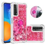 Shock-Absorbed Quicksand TPU Cell Phone Protective Shell with Ring Kickstand for iPhone 12 mini – Rose