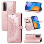 Embossed Mandala Flower Leather Case with Wallet Stand for Huawei P smart 2021 / Y7a – Rose Gold