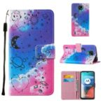 Pattern Printing TPU Shell + PU Leather Cover Phone Stand Cover Case for Motorola Moto E7 – Stars