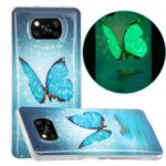 Unique Noctilucent IMD TPU Protector for Xiaomi Poco X3 NFC/X3 Soft Phone Cover – Blue Butterfly