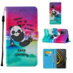 Pattern Printing Cross Texture Leather Wallet Stand Design Phone Protective Case for Xiaomi Poco M3 – Panda