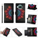Multi-Color Flower Patterned PU Leather Wallet Stand Shell for Xiaomi Mi 10T Lite 5G/Redmi Note 9 Pro 5G/Mi 10i 5G – Black